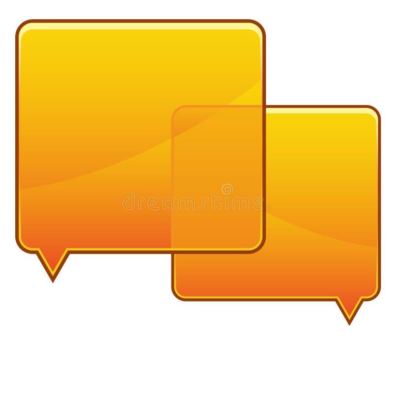 Burbujas anaranjadas del discurso stock de ilustración