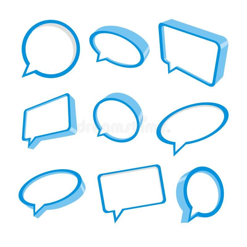 burbujas azules del discurso 3d stock de ilustración