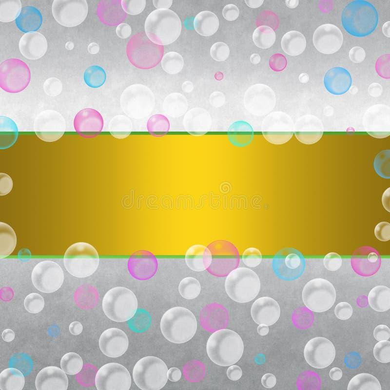 Burbujas azules, rosadas y blancas de la flotación del extracto en Gradated Gray Background ilustración del vector