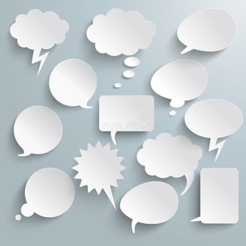 Burbujas blancas de la comunicación fotos de archivo libres de regalías