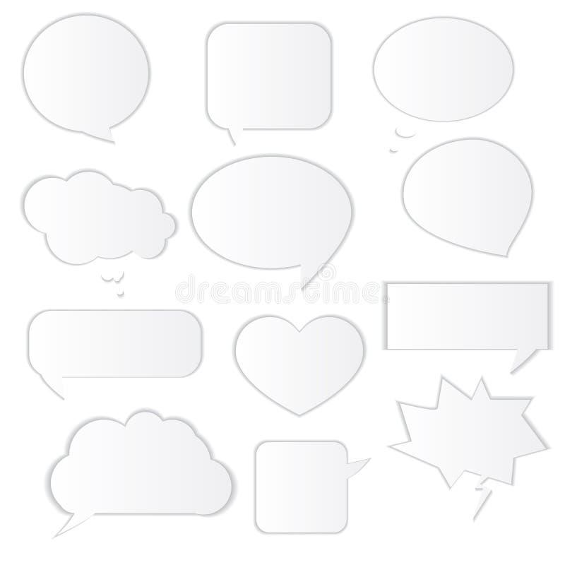 Burbujas blancas del discurso del vector abstracto fijadas ilustración del vector