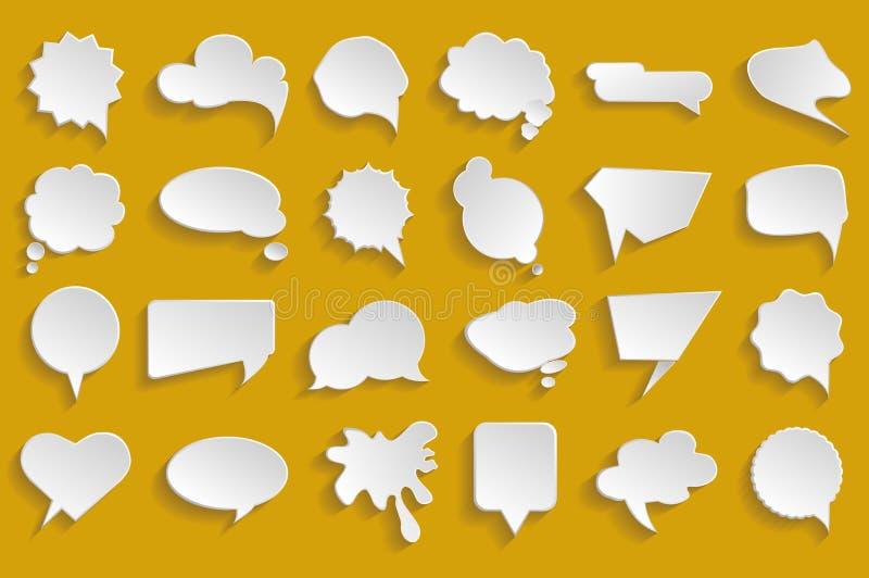 Burbujas blancas del discurso del vector fijadas imagen de archivo libre de regalías