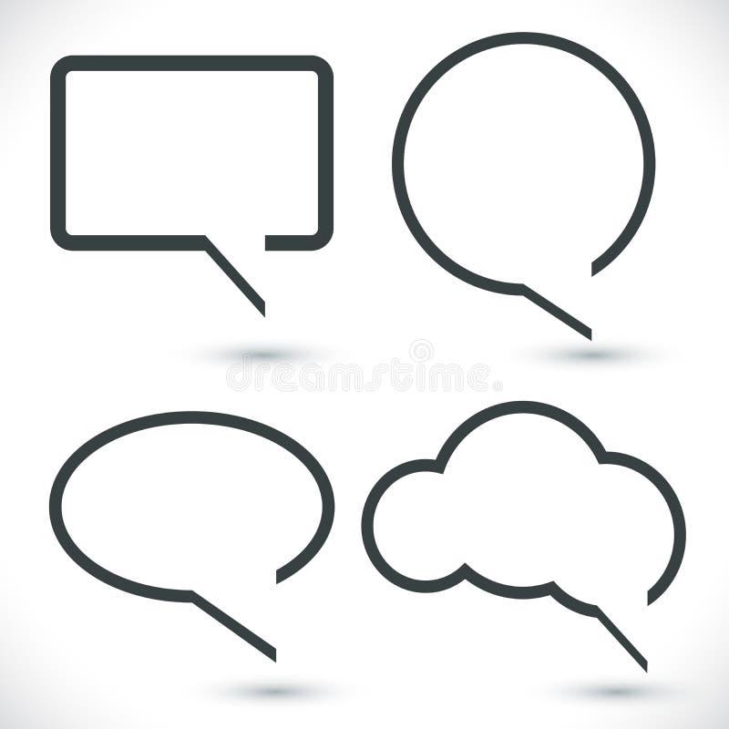 Burbujas blancos y negros abstractas del discurso de la cita stock de ilustración