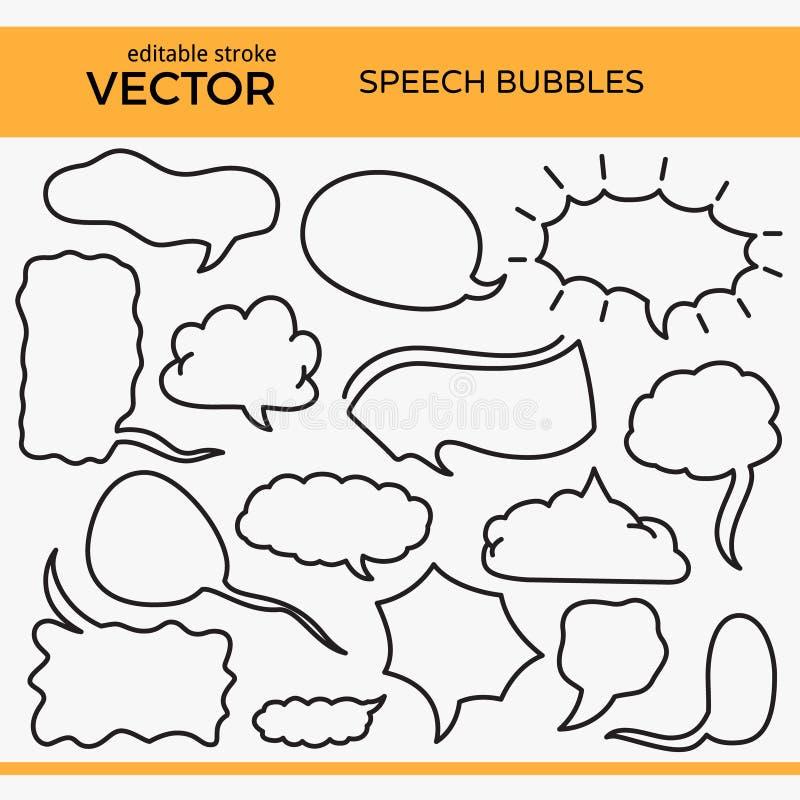 Burbujas bosquejadas del discurso con el movimiento Editable ilustración del vector