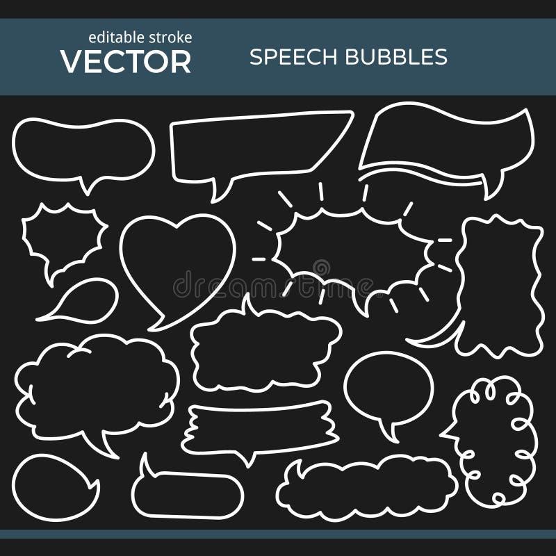 Burbujas bosquejadas del discurso con el movimiento Editable stock de ilustración