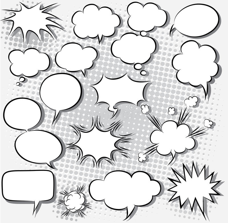 Burbujas cómicas del discurso stock de ilustración