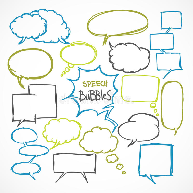 Burbujas cómicas del discurso del garabato fijadas libre illustration