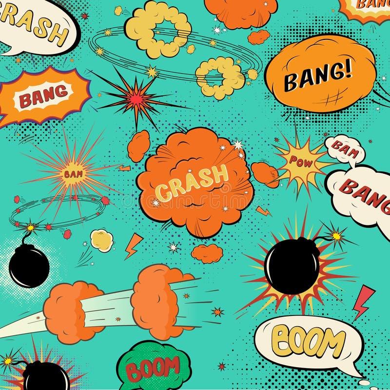 Burbujas cómicas del discurso del vintage de la plantilla stock de ilustración