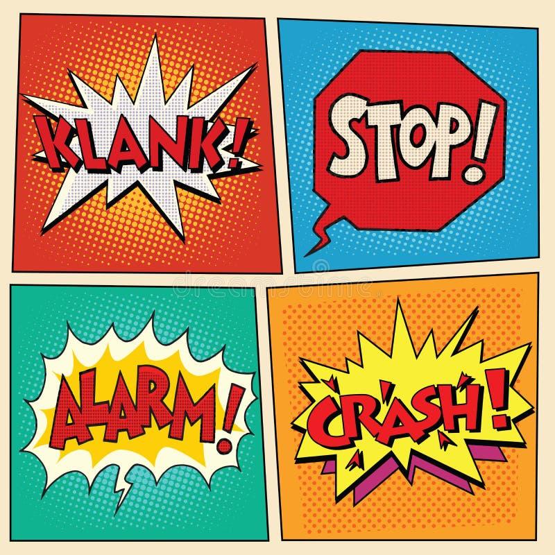 Burbujas cómicas determinadas del arte pop con el texto stock de ilustración