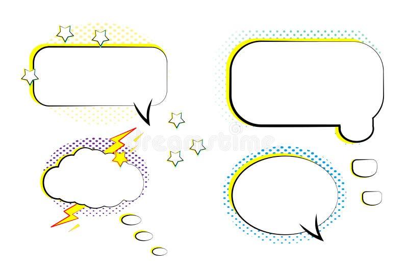 Burbujas cómicas retras determinadas Historieta de la plantilla en blanco en estilo del arte pop Fondo de semitono Vector stock de ilustración