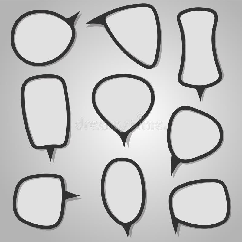 Burbujas caligráficas del discurso stock de ilustración