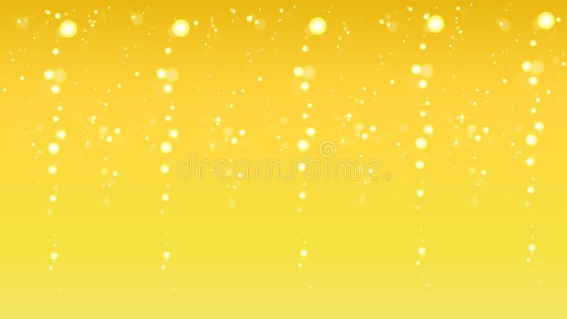 Burbujas chispeantes del champán en fondo de oro ilustración del vector