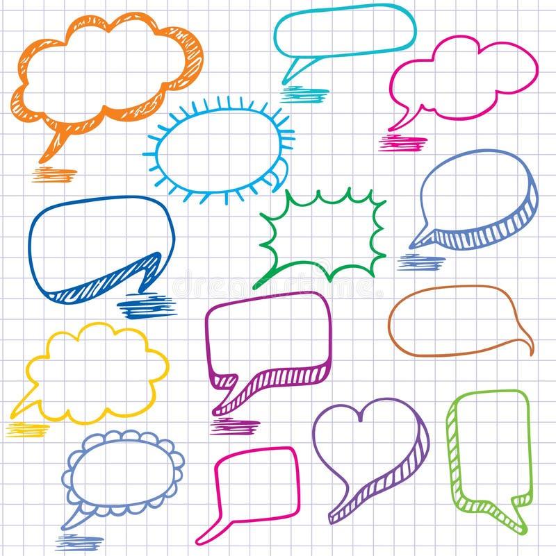 Burbujas coloridas para el discurso. ilustración del vector