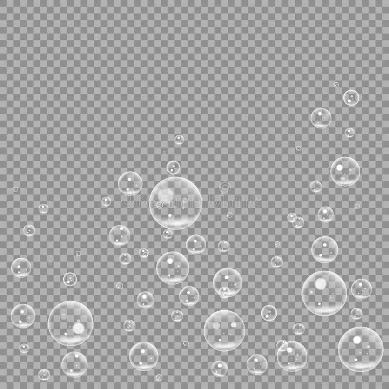Burbujas de aire que chisporrotean subacuáticas aisladas en fondo transparente Ventile la burbuja clara del agua en el agua, mar, libre illustration