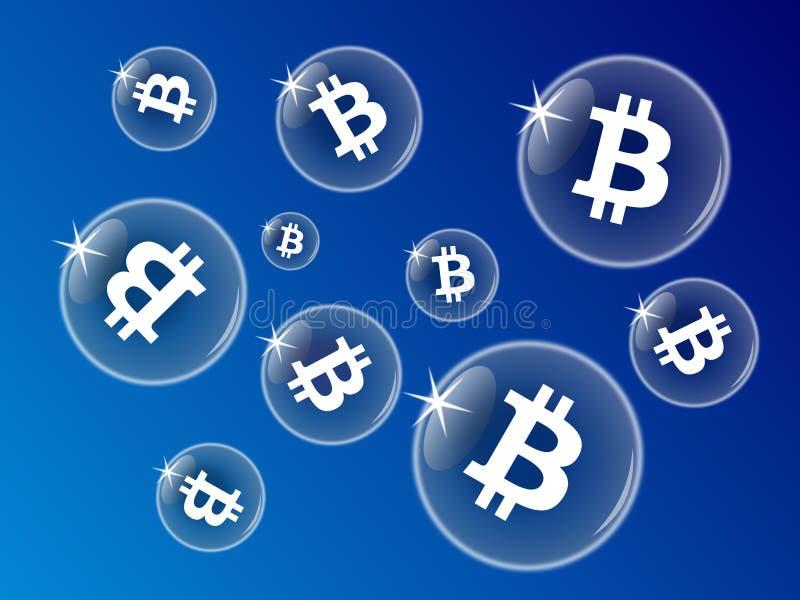 Burbujas de Bitcoin en un fondo azul libre illustration