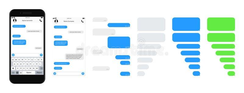 Burbujas de charla de la plantilla del SMS de Smartphone Compositor de la charla de SMS Ponga su propio texto al mensaje SMS de c ilustración del vector