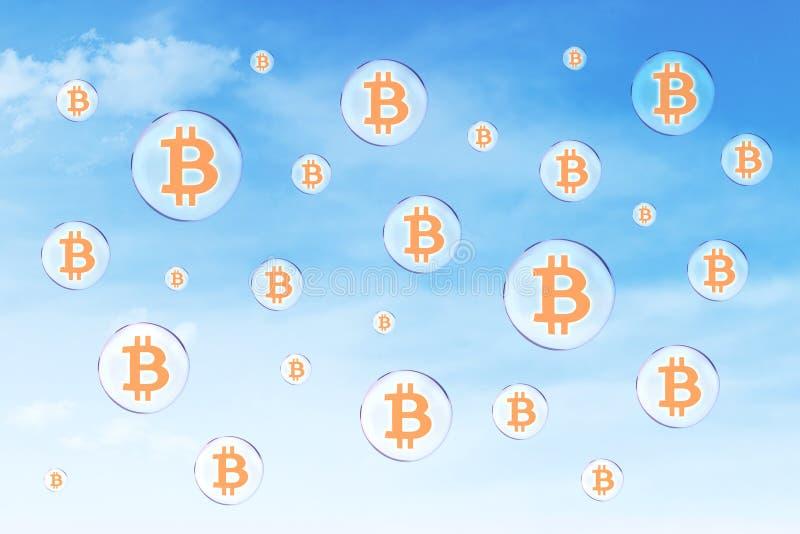 Burbujas de jabón con símbolo del bitcoin ilustración del vector