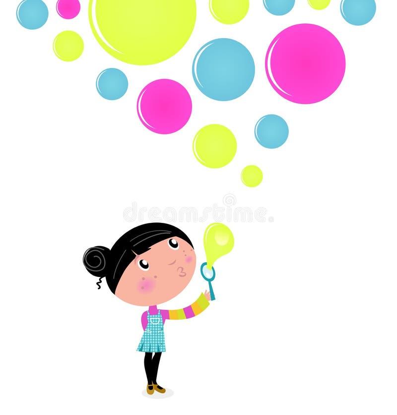 Burbujas de jabón de la niña que soplan linda. stock de ilustración