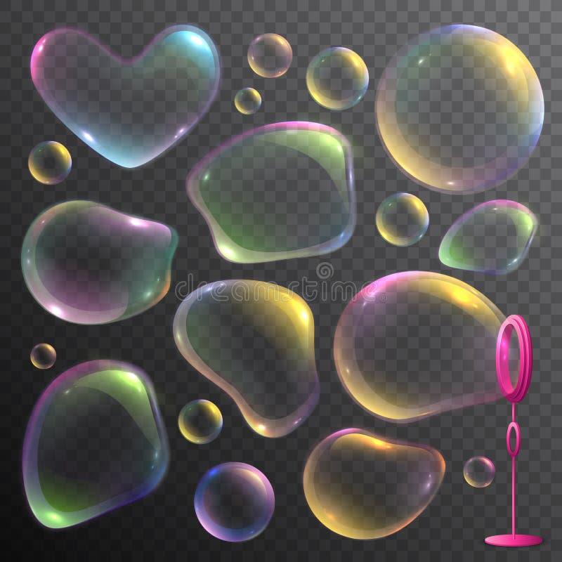 Burbujas de jabón fijadas stock de ilustración