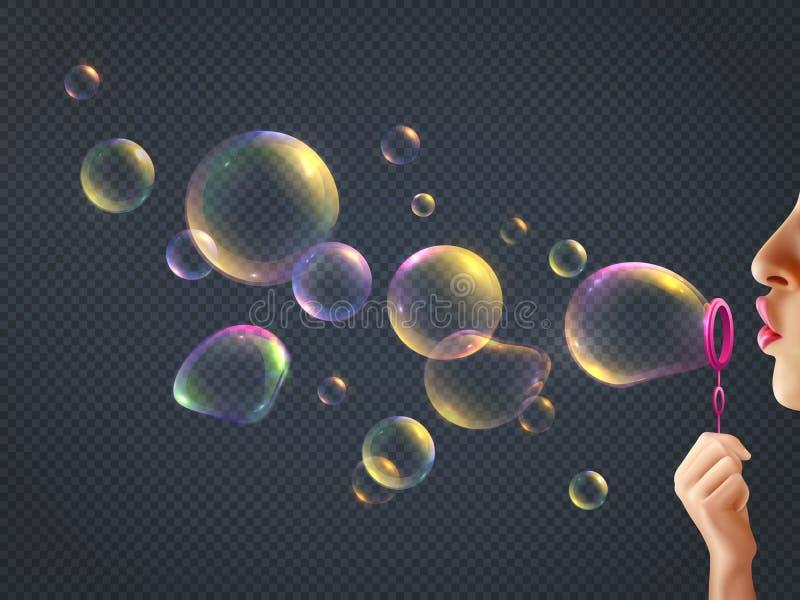 Burbujas de jabón de la muchacha que soplan libre illustration
