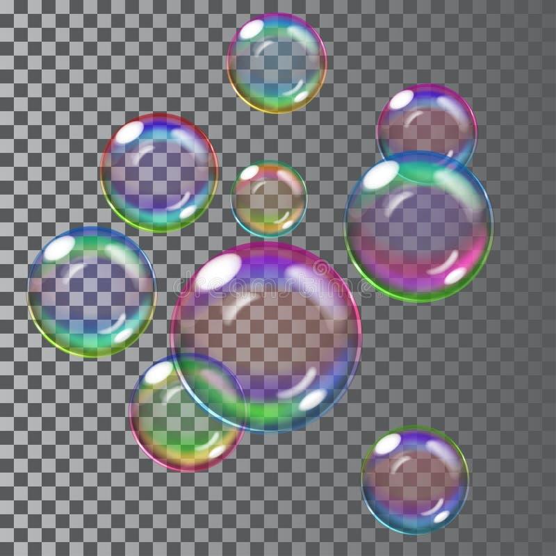 Burbujas de jabón multicoloras Transparencia solamente en fichero del vector stock de ilustración