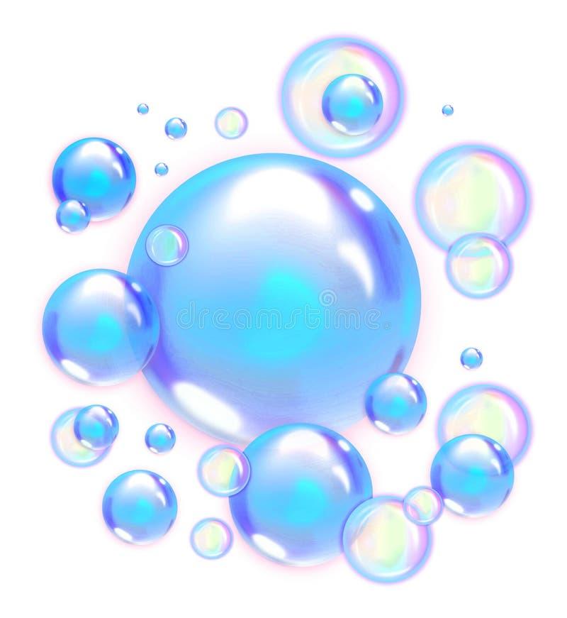 Burbujas de jab?n aisladas en fondo transparente libre illustration