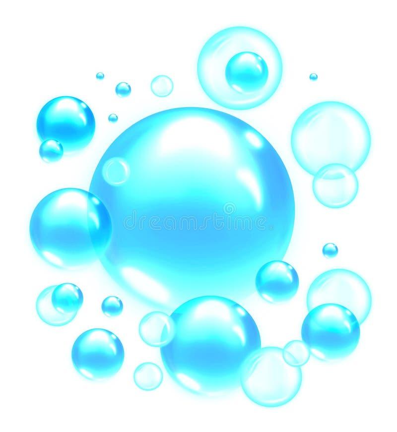 Burbujas de jab?n azules claras Fondo de las burbujas de aire libre illustration