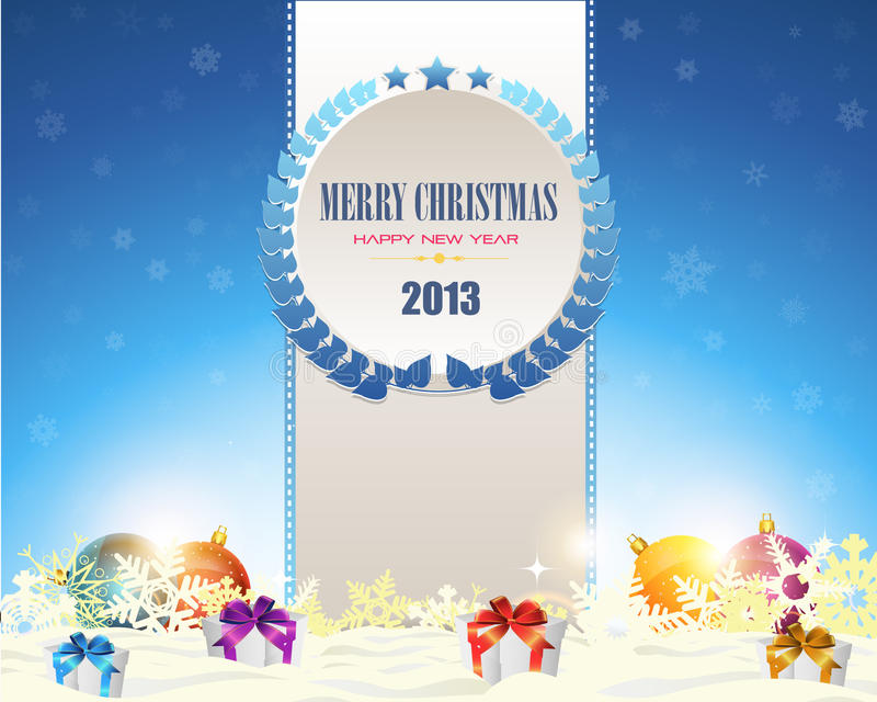 Burbujas de la guirnalda de la Feliz Navidad y de la Feliz Año Nuevo ilustración del vector