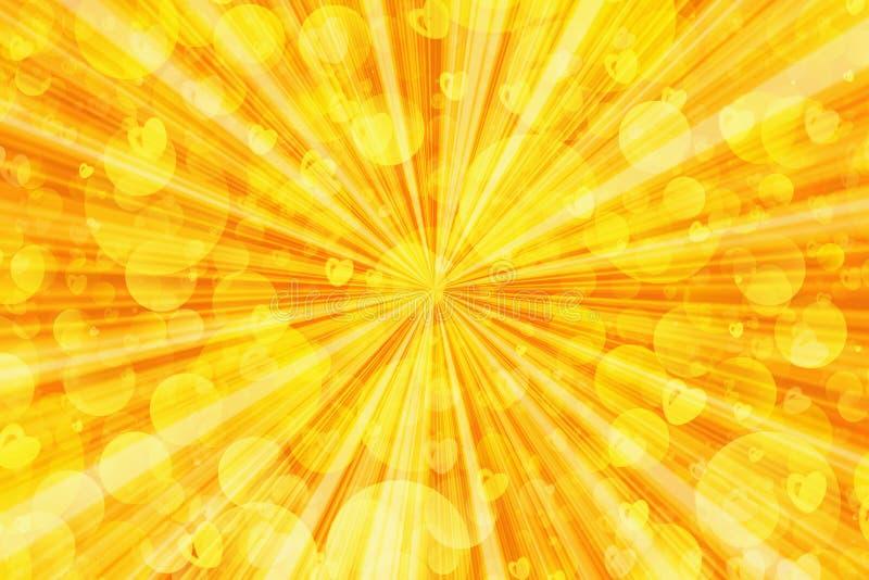Burbujas de la sol y fondos de los corazones ilustración del vector
