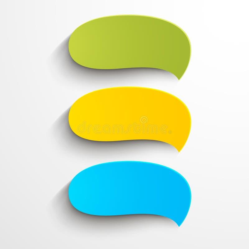 Burbujas de papel coloridas del discurso ilustración del vector