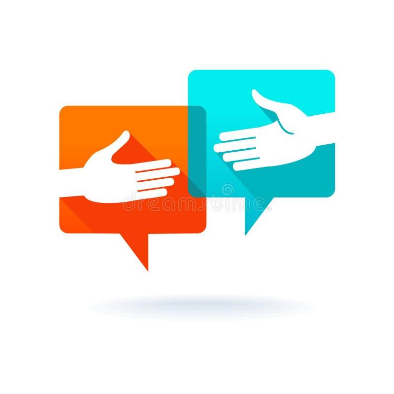 Burbujas del diálogo con la sacudida de las manos stock de ilustración
