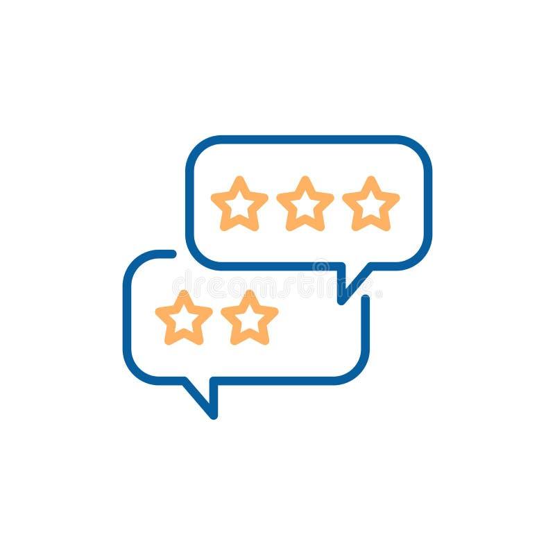 Burbujas del discurso con comentarios de clientes Vector la línea fina icono con los globos y las estrellas de la charla libre illustration