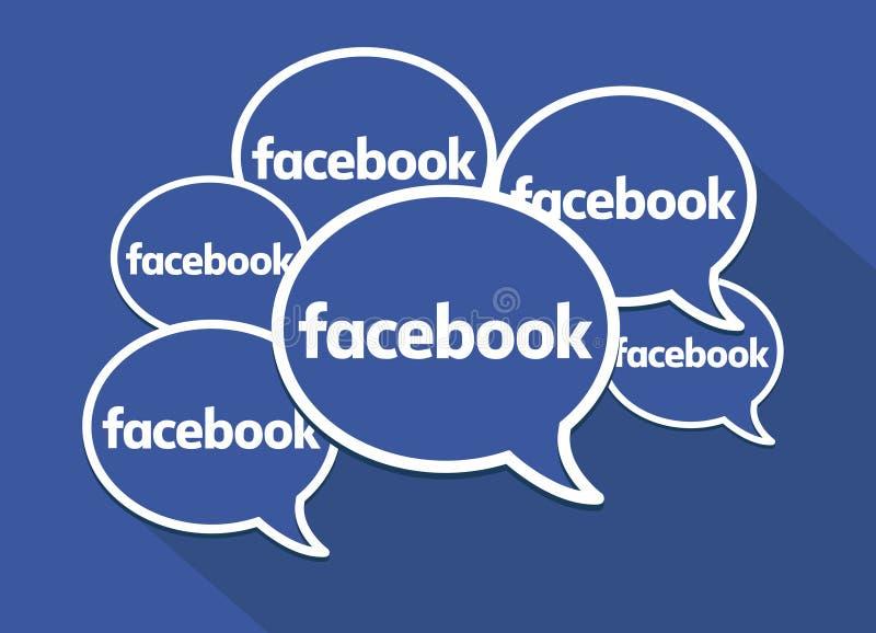 Burbujas del discurso de Facebook Símbolo limpio del vector Medios, establecimiento de una red y comunicaciones sociales libre illustration