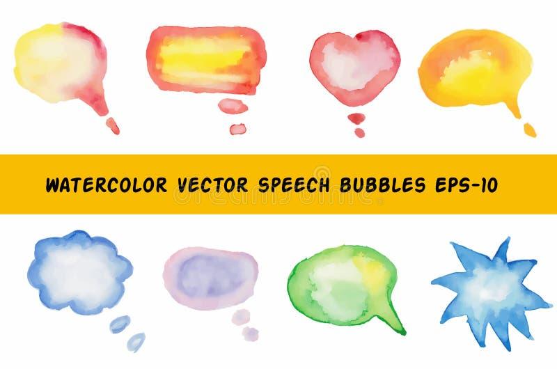 Burbujas del discurso de la acuarela ilustración del vector