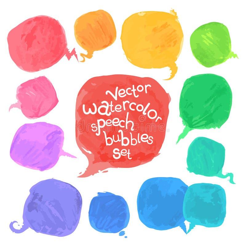 Burbujas del discurso de la acuarela del vector fijadas stock de ilustración