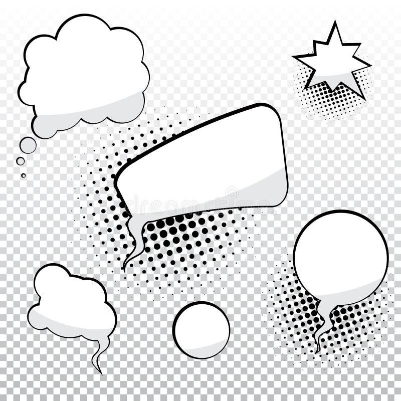 Burbujas del discurso de la historieta ilustración del vector