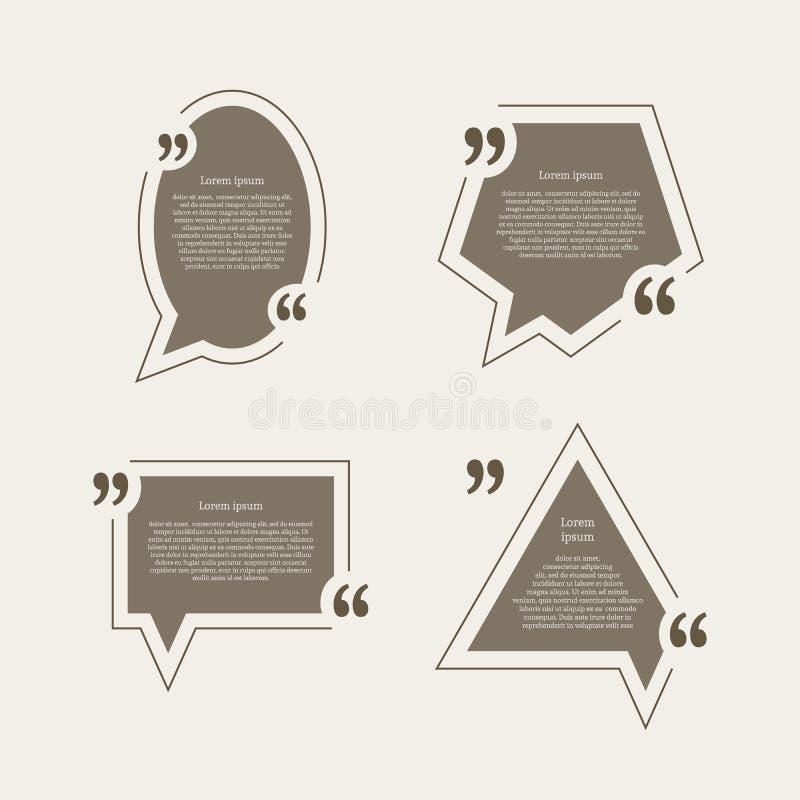 Burbujas del discurso de la marca de la cita fijadas stock de ilustración