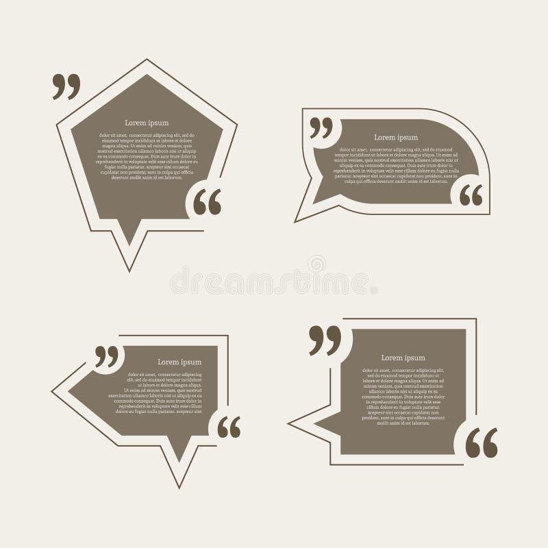 Burbujas del discurso de la marca de la cita fijadas libre illustration