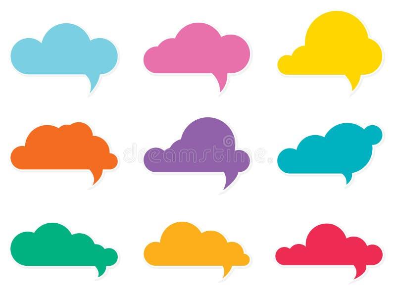 Burbujas del discurso de la nube stock de ilustración