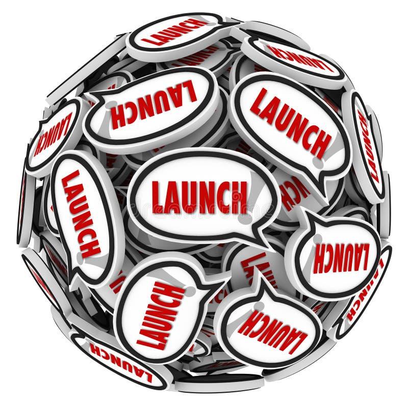 Burbujas del discurso de la palabra del lanzamiento que separan la nueva empresa de negocios del zumbido stock de ilustración