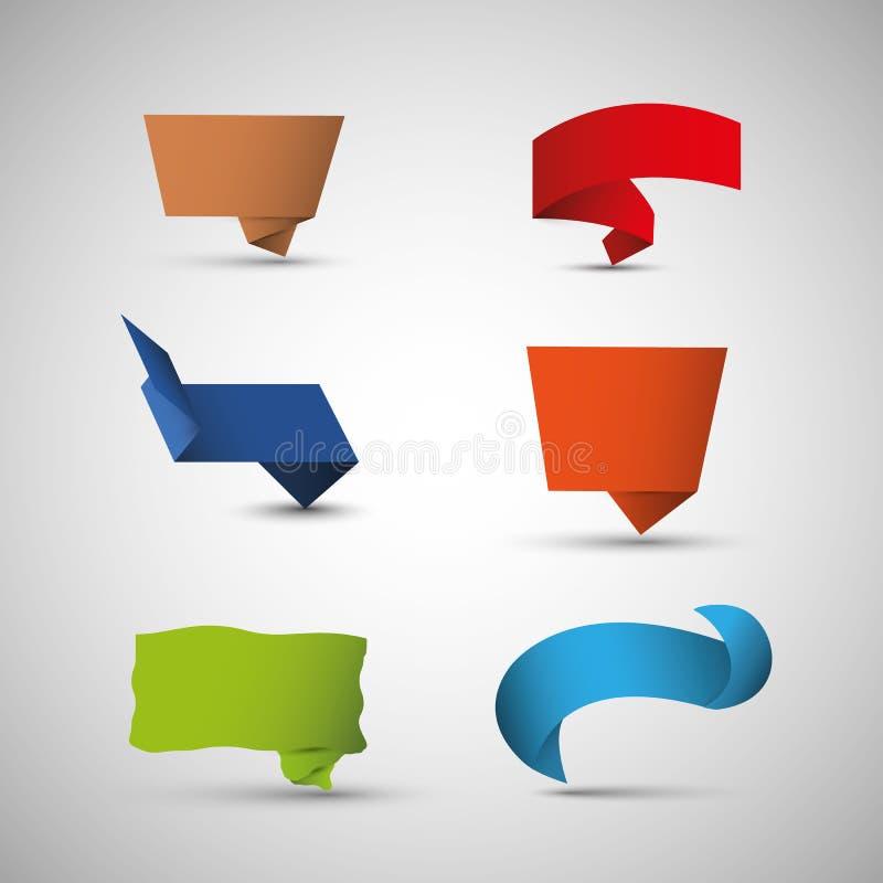 Burbujas del discurso de Origami ilustración del vector