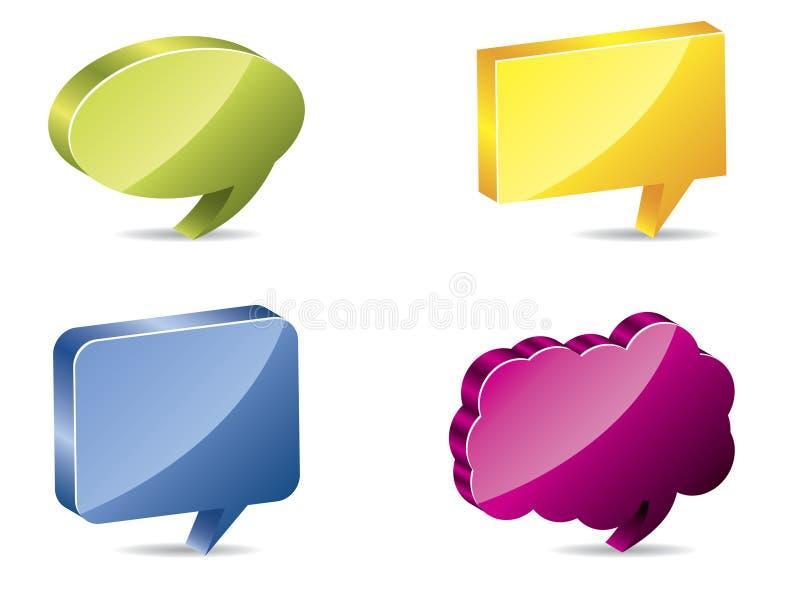 burbujas del discurso del color 3d ilustración del vector