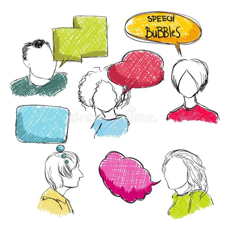 Burbujas del discurso del garabato con los hombres y las mujeres ilustración del vector