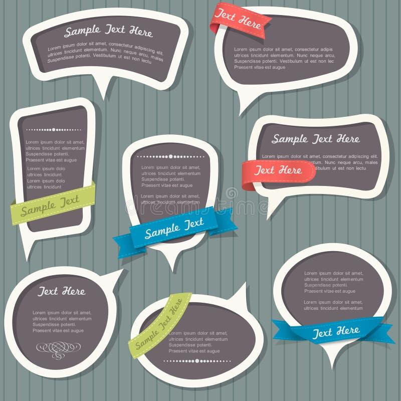 Burbujas del discurso en estilo de la vendimia ilustración del vector