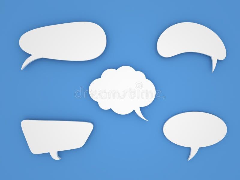 Burbujas del discurso en fondo azul ilustración del vector