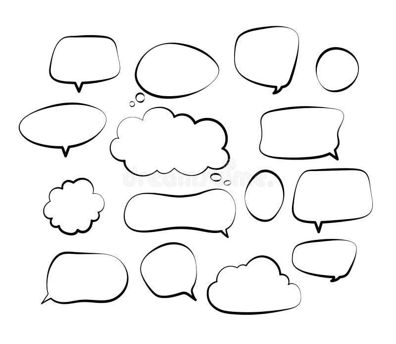 Burbujas del discurso del esquema L?nea c?mica grito retro del garabato de la mano del bosquejo del globo de discurso del garabat ilustración del vector