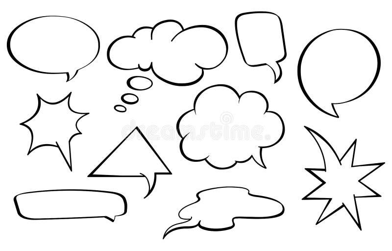 Burbujas del discurso fijadas stock de ilustración
