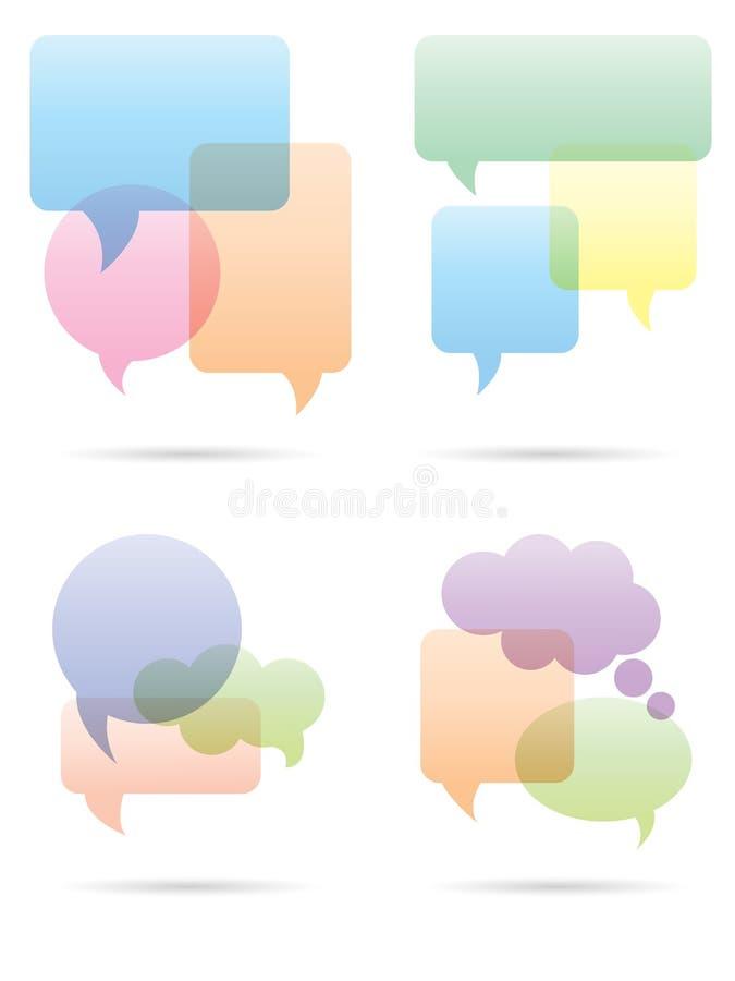 Burbujas del discurso fijadas ilustración del vector
