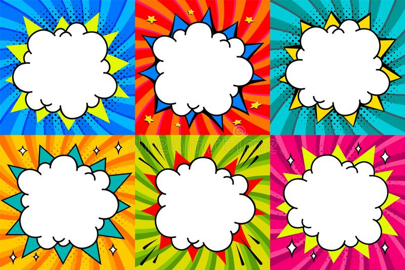 Burbujas del discurso fijadas El arte pop diseñó la plantilla en blanco de las burbujas del discurso para su diseño Burbujas cómi stock de ilustración