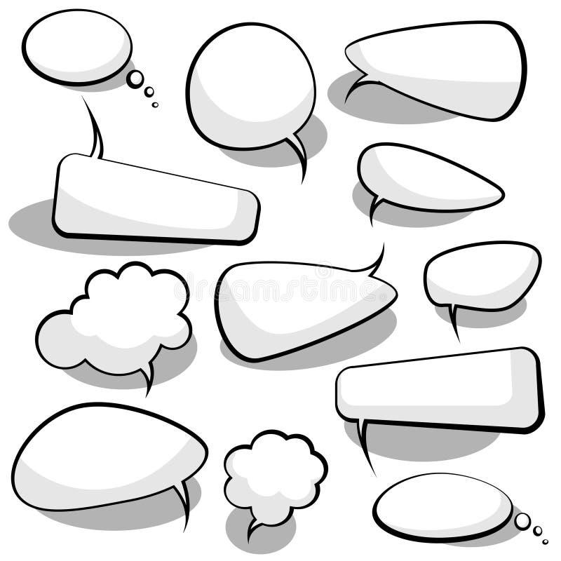 Burbujas del discurso y del pensamiento stock de ilustración